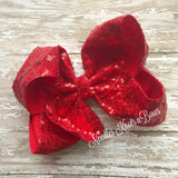 "Girls 8"" Red Sequin Hair Bow, Large Red Sequin Hairbow, Girls Accessories"