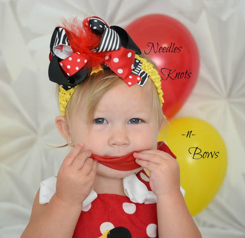 Girls Minnie Mouse Hair Bow Clip, 5.5 Minnie Mouse Layered Bow, Boutique Hair Bow
