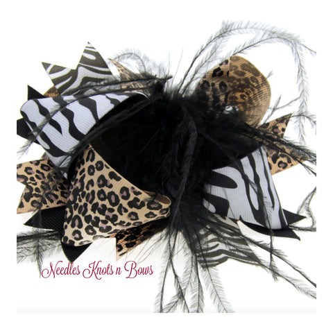 Animal Print Hair Bow, Girls 6.5 inch Layered Hair Bow, Over the Top Hair Bow