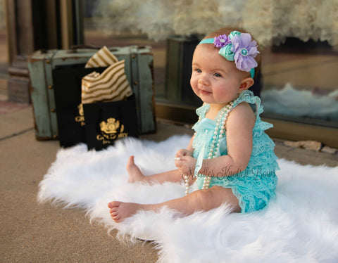Aqua & Lavender 1st Birthday Outfit, Baby Girls 1st Birthday Cake Smash Set, Petti Lace Romper Set