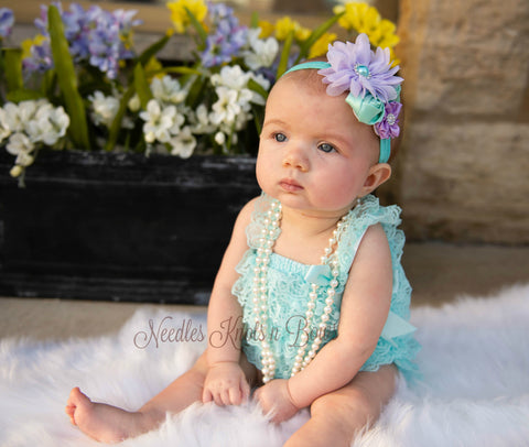 Girls Aqua & Lavender Petti Lace Romper Set, Girls Birthday Outfit, Coming Home Outfit