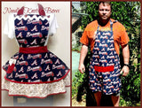 Atlanta Braves His and Her Apron Set.  These sets make a wonderful Wedding gift, house warming, bridle shower or any other reason.  Available in all teams as well as leagues.