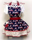 Womens flirty style Atlanta Braves baseball apron.  Perfect gift for women Braves fan.