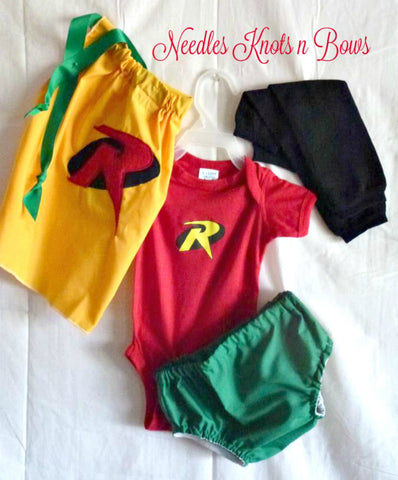 Boys Robin Costume, Halloween Baby Costume, Baby Boys Robin Superhero Costume