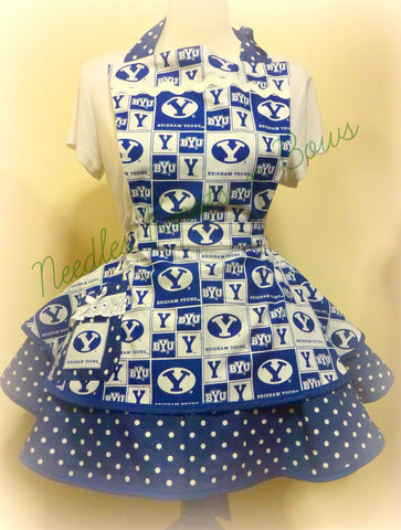 Womens BYU Cougars Apron, Brigham Young University Apron, Aprons, Womens Football Apron