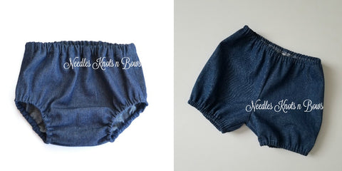 Baby Boys Denim Diaper Cover, Jean Bloomers, Denim Nappy Cover, Boys or Girls Shorts