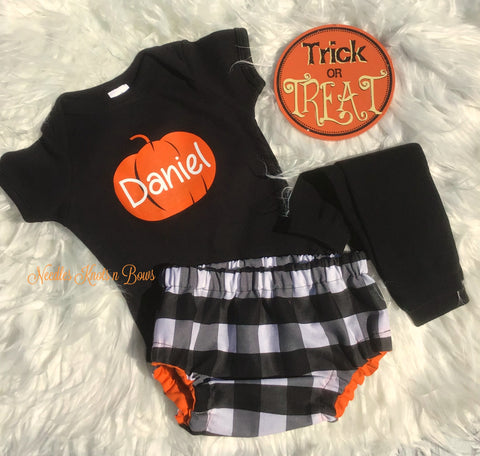 Boys Fall Pumpkin Outfit, Baby Boys Buffalo Plaid Outfit, Halloween Outfit, Coming Home Outfit