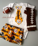Boys Pittsburgh Steelers Football Outfit, Baby Boys Steelers Game Day Outfit, Baby Shower Gift