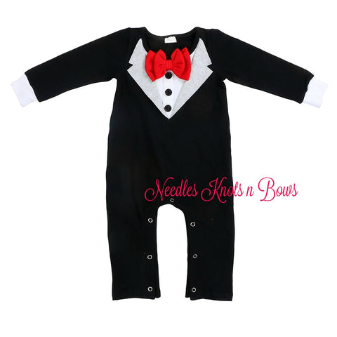 Baby Boys Tuxedo Romper, Infants, Toddlers One Piece Tuxedo Outfit, Baby Boys Gentleman Outfit, Jumper