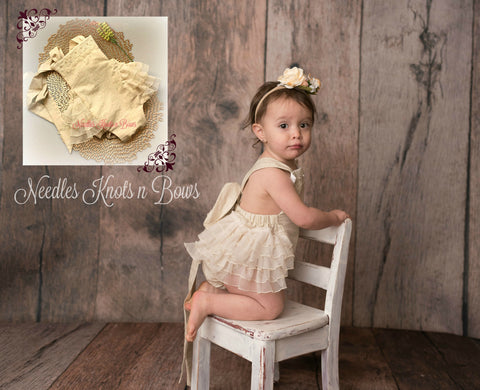 Girls Boho Romper, Baby Girls Ivory Lace Boho Chic Romper, Girls Cake Smash Outfit, Girls 1st Birthday Outfit