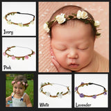 Baby Girls Flower Crown, Newborn Photo Prop, Boho Flower Halo, Baby Girls - Toddlers Flower Headband