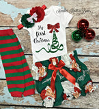 "Baby Girls ""My first Christmas"" outfit   My first Christmas onesie paired with our darling Santa bloomers making this set a must have for your little ones first Christmas milestone."