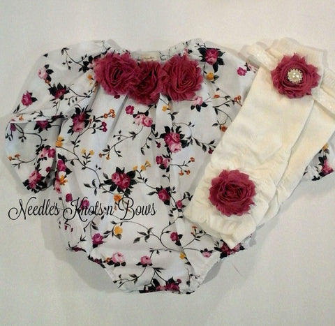 Girls Boho Chic Floral Romper, Newborn Baby Girls Coming Home Outfit, Girls Clothing, New Baby Gift