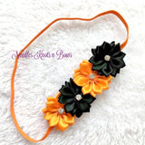 Girls Halloween Headband,  Baby Girls Black & Orange Flower Headband, Newbonrs, Infants, Accessories, Fall