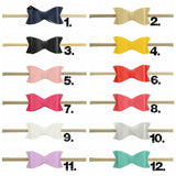 3 inch Leather Bow Headbands, Nylon Headbands, Baby Girls Leather Bow Headband, 12 Colors