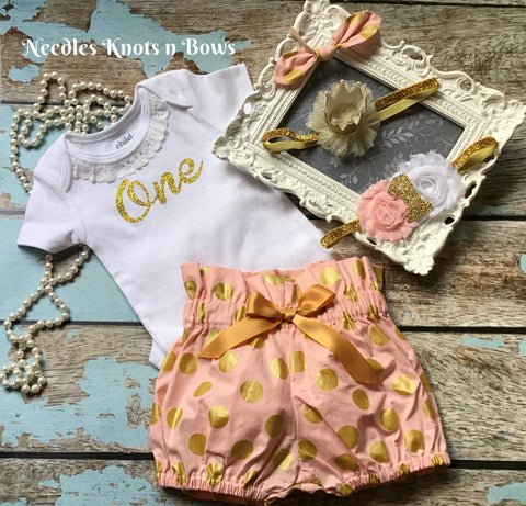 Baby Girls Pink & Gold Birthday Outfit, Girls Pink & Gold 1st Birthday Outfit, Pink & Gold Cake Smash Set