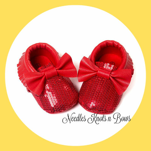 Baby Girls Red Sequin Moccasins, Bow Moccasins, Ruby Slippers, Leather, Baby Girls Shoes