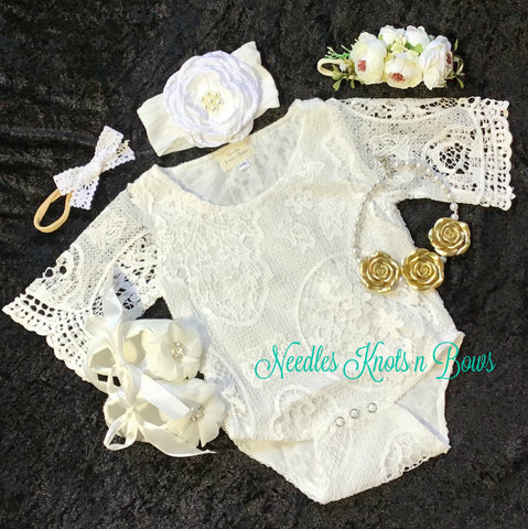 Baby Girls White Lace Baptism - Christening Outfit, Girls Lace Cake Smash Outfit, Girls White Flower Girls Romper