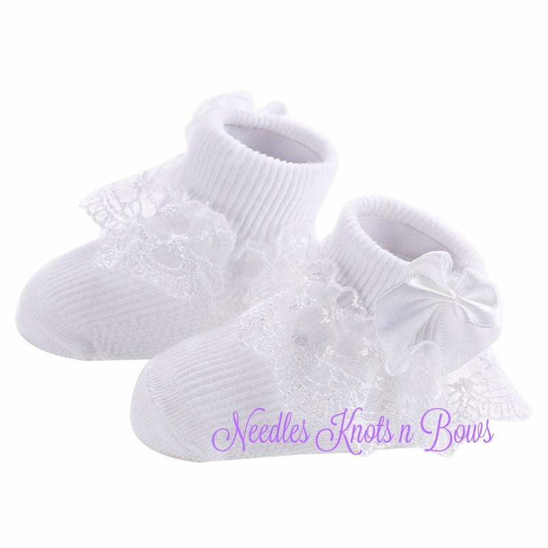 Baby Girls White Lace Sock W Bows Blessing Christening