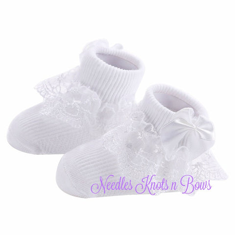 Baby Girls White Lace Sock w/ Bows, Blessing, Christening Socks, Girls Pageant Socks, Girls Baptism White Socks, Flower Girls Socks