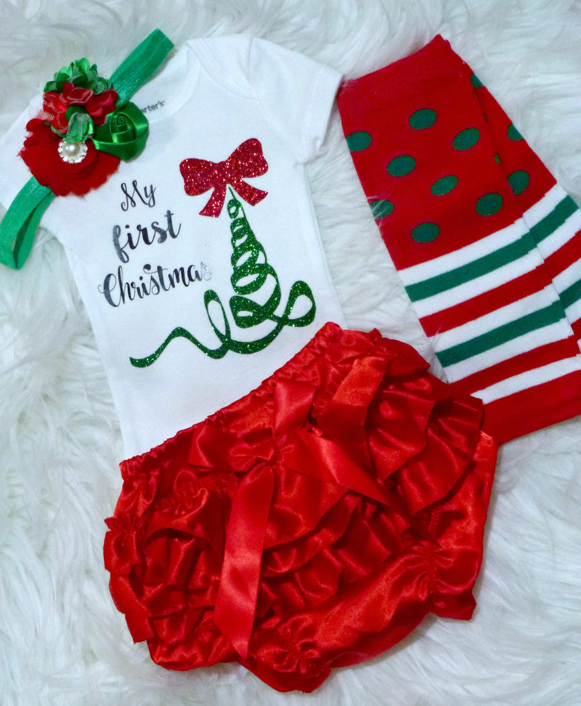 a972583a2 Baby Girls First Christmas Outfit, Baby Girls 1st Christmas Onesie Set,  Newborns, Infants