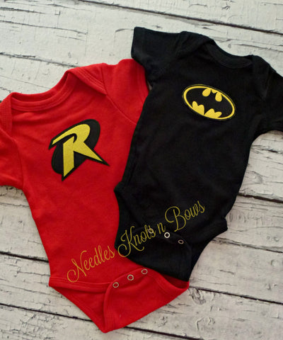 Twin Onesies, Boy Twins, Batman & Robin Onesies, Twin Clothing, Twin Boys Superhero Onesies