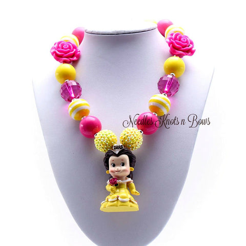Belle Chunky Bead Bubblegum Necklace, Princess Belle Necklace, Girls Jewelry, Baby Girls, Toddlers