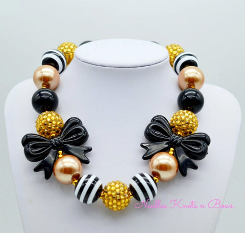 Girls Black and Gold Chunky Bead Bubblegum Necklace, Girls Jewelry, Kids Necklace, New Years Eve Necklace
