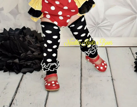 Black Polka Dot Leg Warmers w/ Ruffle, Leg Warmers, Girls Accessories, Polka Dot Legwarmers