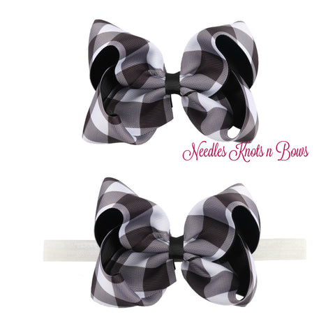"5"" Buffalo Plaid Ribbon Hairbow or Headband, Girls Black & White Buffalo Plaid Christmas Hairbow"