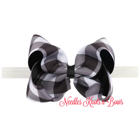 "Girls 5"" Buffalo Plaid Hair Bow or Headband, Girls Black & White Buffalo Plaid Christmas Hair Bow"