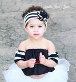 Black & White Striped Top Knot Headband, Turban Headband, Top Knot Headband, Girls Accessories