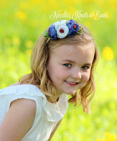 Blue & White Flower Headband, Baby Girls, Infants Floral Headbands