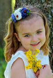 Blue & White Nylon Flower Headband, Baby Girls, Infants Floral Headbands, Baby Headbands