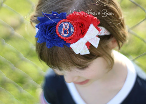 Girls Boston Redsox Headband, Boston Redsox Shabby Chic Headband, Girls Baseball Headband