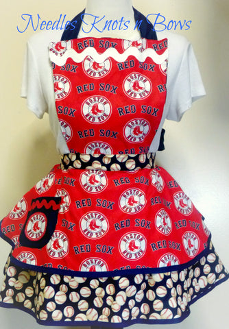 Boston Redsox Womens Apron, Womens Redsox Baseball Apron, Womens Flirty Apron