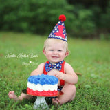 Boys Patriotic Cake Smash, Red White & Blue Stars, 4th of July Birthday, Fourth of July