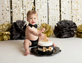 Boys Black Cake Smash, Solid Black Cake Smash, Boys 1st Birthday Outfit, Little Man's 1st Birthday
