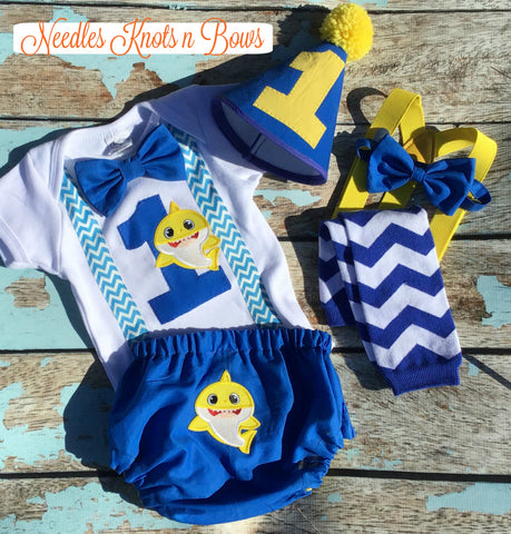 MYRISAM Newborn Baby Shark First Birthday Cake Smash Outfits for Photo Shoot Bloomers Y Back Braces//Suspender Bow Tie Baby Shower Costume