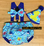 Boys Baby Shark Cake Smash outfit, perfect for a boys first or second birthday