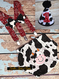 Boys Barnyard Cake Smash Outfit, Farm Animal Cake Smash, Cow Print Cake Smash