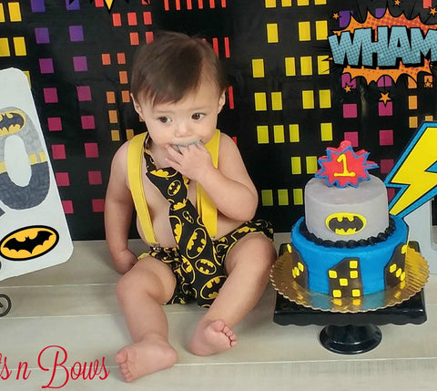 Boys Batman Cake Smash First Birthday Outfit