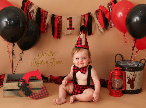 Boys Buffalo Plaid Cake Smash,Boys 1st Birthday Outfit, Woodland Cake Smash, Boys Cake Smash Outfit