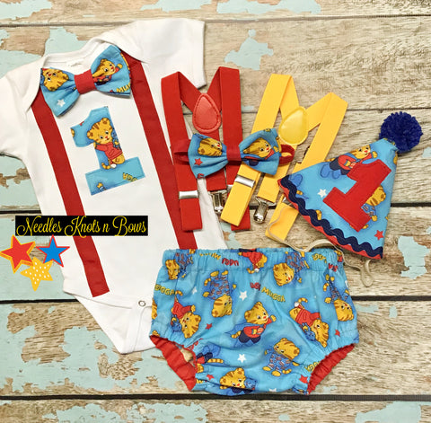 Boys Daniel the Tiger cake smash and first birthday outfit set.