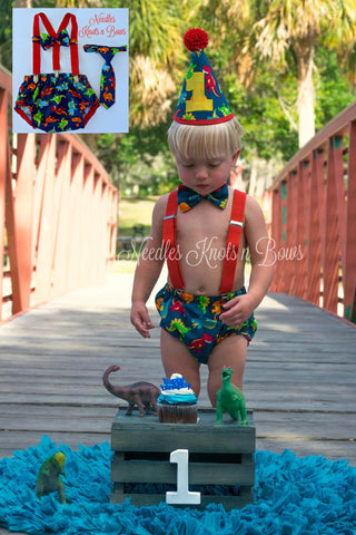 Boys Dinosaur Birthday Cake Smash Outfit