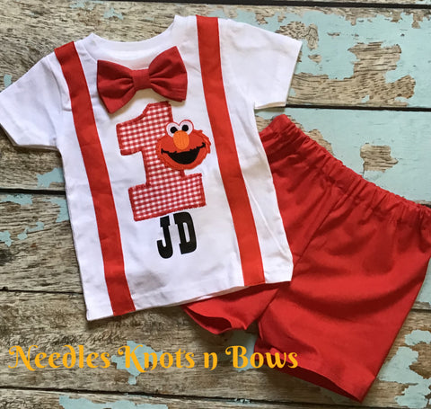 Boys Elmo Birthday Outfit, Elmo Birthday, Baby Boys 1st Elmo Birthday Outfit, Sesame Street Birthday