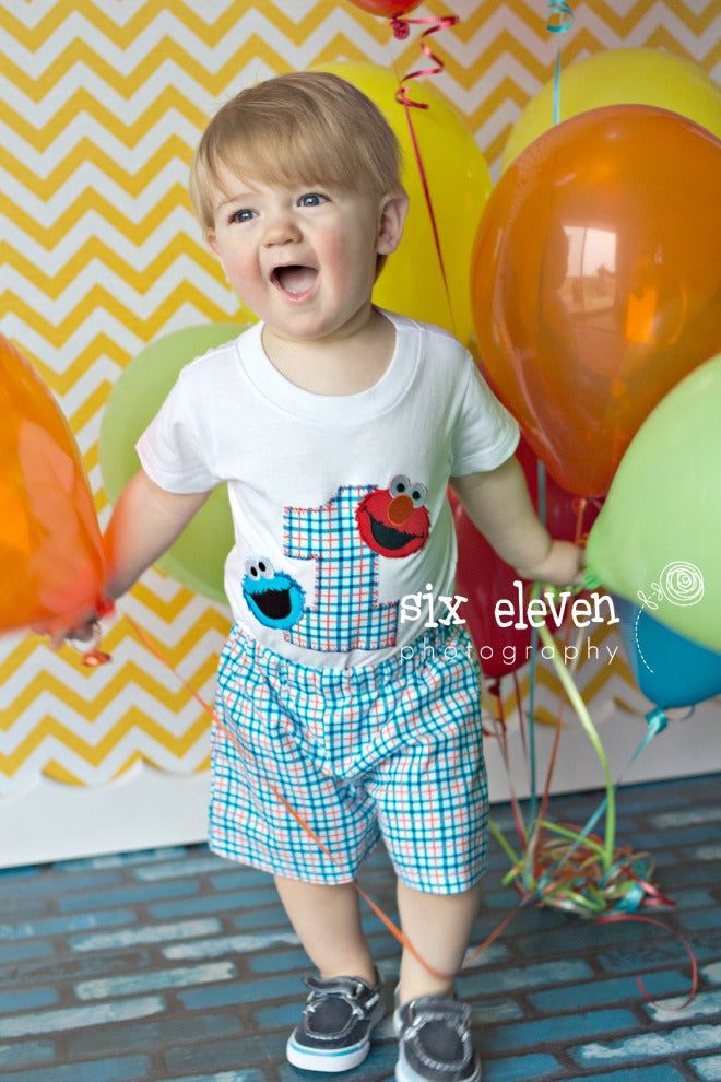 Boys Elmo Cookie Monster Birthday Outfit Baby Boys Sesame Street Firs Needles Knots N Bows