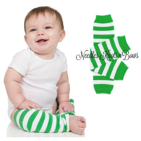 Green & White Striped Leg Warmers, Striped Leg Warmers, Boys & Girls Legwarmers, Toddlers