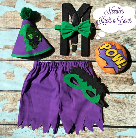 Boys Incredible Hulk Cake Smash Outfit, Boys Superhero Birthday, Boys 1st Birthday Outfit
