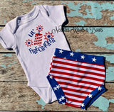 4th Of July Baby - Toddler Bummies, Boys or Girls Patriotic Shorties, Stars & Stripes Bummies